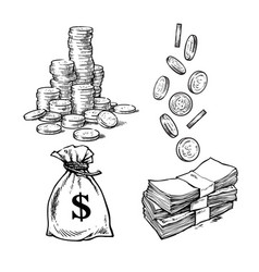 finance money set sketch of stack of coins vector image