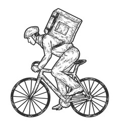 Food delivery man on a bicycle sketch scratch vector