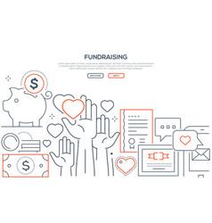 fundraising - modern line design style web banner vector image
