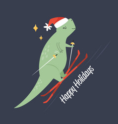 funny flat with t-rex going ski cute cartoon vector image