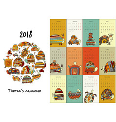 Funny turtles calendar 2018 design vector
