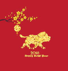 Gold dog glitter 2018 golden lantern isolated on vector