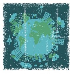 Grunge globe vector