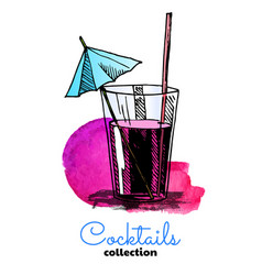Hand drawn cocktail and watercolor vector