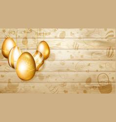 Hanging golden easter eggs vector