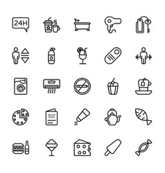 Hotel line icons 5 vector