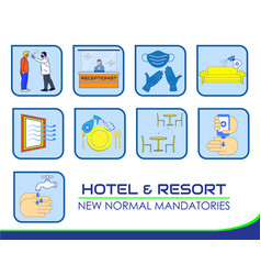 Hotel resort new rules poster or public health vector
