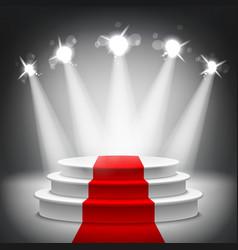 Illuminated stage podium red carpet award ceremony vector image