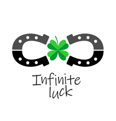 Infinity luck symbol two horseshoes with four vector