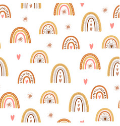 kids boho rainbow pattern with modern pastel vector image