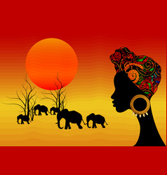 Landscape view africa with young african woman vector