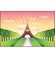 landscape with paris eiffel tower vector image