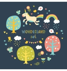 Lovely collection set with cute unicorns vector