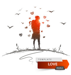 man and woman on meadow love each other vector image