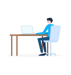 Man sitting at workplace with laptop vector