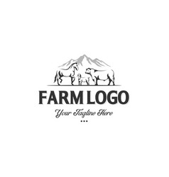 Monochrome label farm animals cow horse and vector
