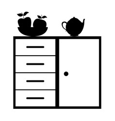 Monochrome silhouette of kitchen shelf and drawers vector