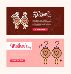 Mothers day card with earings logo and pink theme vector