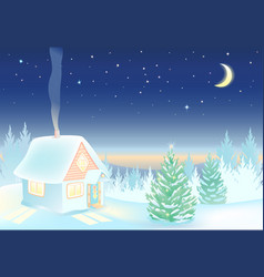 Night winter landscape with house and forest vector