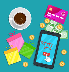 Online shopping app flat smartphone with cart vector