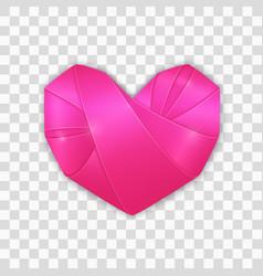 Origami pink heart vector