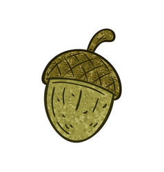 Outlined a textured cartoon acorn vector