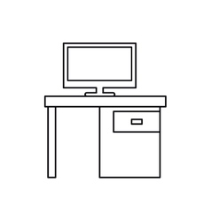 pictogram computer desk office drawers icon vector image