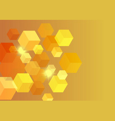 polygon background hexagons half orange vector image