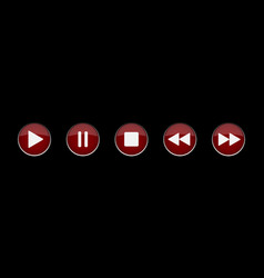 Purple metallic music control buttons set vector
