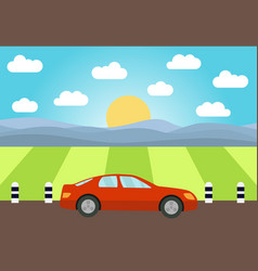 red car on the road vector image
