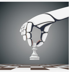 robot arm holding a chess pawn vector image