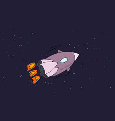 rocket flies in space vector image