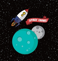 rocket ship space travel vector image
