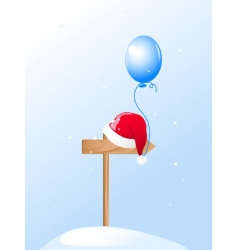 Santa's hat and blue balloon vector image