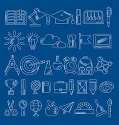 School supplies handdrawn icons vector