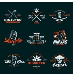 set japan ninja logo ninjato sword insignia vector image