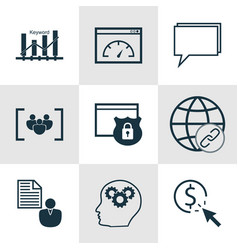 set of 9 advertising icons includes loading speed vector image