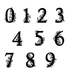 Set of Isolated stylized calligraphic numbers vector image
