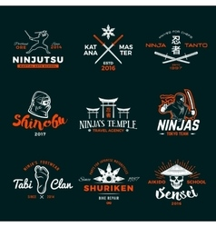 Set of japan ninja logo ninjato sword insignia vector
