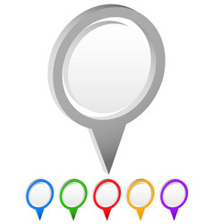 set of map markers with various colors vector image