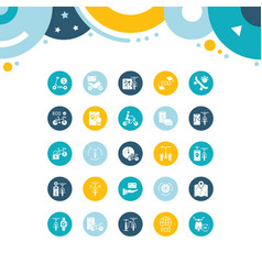Set simple icons bike sharing vector