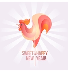 Sign new year 2017 rooster in shape of candy on vector