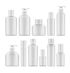 Simple blank white plastic cosmetic bottles set vector