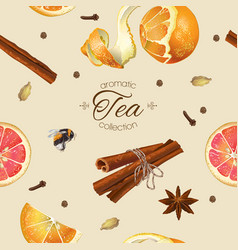 Spice tea seamless pattern vector image