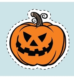 Sticker label evil Halloween pumpkin vector