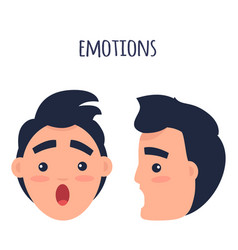Surprised man emotions flat concept vector