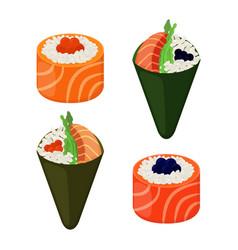 sushi types - rolls temakiraw fish caviar rice vector image