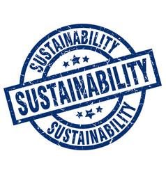 Sustainability blue round grunge stamp vector