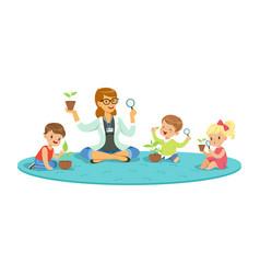 Teacher and kids sitting on the floor learning vector