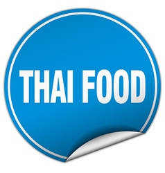 Thai food round blue sticker isolated on white vector